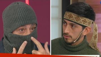 Nicolás Repetto se puso un pasamontañas para entrevistar a un mapuche
