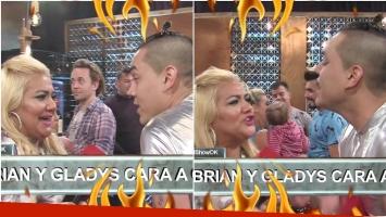 Repudiable pelea entre La Bomba Tucumana y Brian Lanzelotta en el back del Bailando (Fotos: Captura)