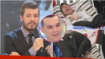 La emoción de Marcelo Tinelli con Carlitos, el hermano de Brian Lanzelotta (Fotos: Captura)