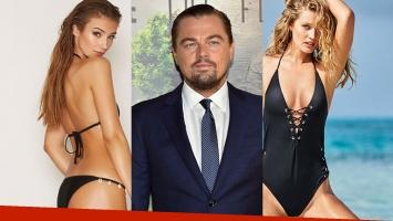 Leonardo DiCaprio, entre Lorena Rae y Tori Harrn.
