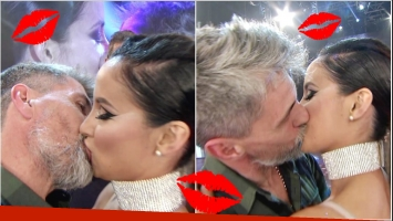 El apasionado beso de Chato Prada a Lourdes Sánchez en ShowMatch (Fotos: Captura)