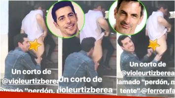 Esteban Lamothe le besó la cola a Rafael Ferro, su compañero de elenco en Las Estrellas (Fotos. Captura de video)