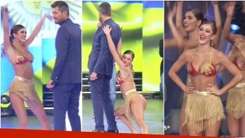 La bailarina de ShowMatch que se lució en la pista y le mostró a Marcelo Tinelli sus destrezas en el cha cha cha pop (Fotos: Captura)