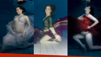 Agustina Kämpfer, embarazadísima bajo el agua (Fotos: Gente).