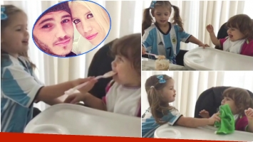 El tierno video de la hija mayor de Wanda Nara y Mauro Icardi alimentando a su hermanita (Fotos: Captura y Web)