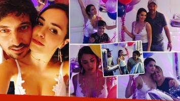 Lali Espósito festejó su cumpleaños con su novio y su familia: súper escote y mimos con Santiago Mocorrea
