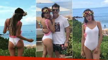 Los días de amor y playa de Barby Franco y Fernando Burlando en Hawaii: malla enteriza sexy y mimos en el mar