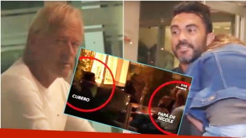 El encuentro de Fabián Cubero y el papá de Nicole Neumann en un restaurante (Fotos: Captura)