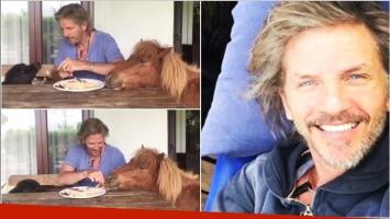 El divertido video de Facundo Arana alimentando a un perro y un pony (Fotos: Captura de video de Instagram e Instagram)