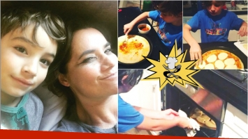 Nancy Pazos mostró a su hijo de 7 años... ¡cocinando pizzas caseras!: Me ayudas todo el tiempo a agradecer la vida