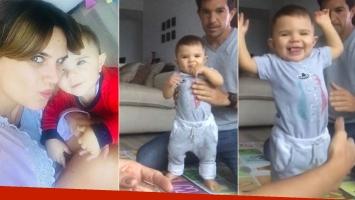 El hijo de Amalia Granata, dando sus primeros pasitos