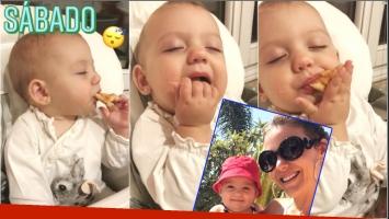 El tierno video de la beba de Evangelina Anderson... ¡comiendo dormida!