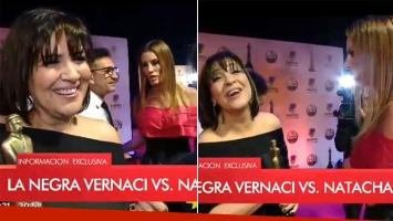 ¡Escandaloso video! Natacha Jaitt encaró e insultó a la Negra Vernaci en la alfombra roja de los Martín Fierro de Radio