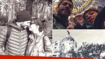 Celeste Cid y Michel Noher, con su hijo en España