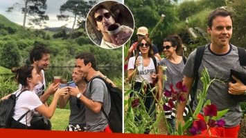 Nico Vázquez, Gimena Accardi, Benjamín Rojas y su esposa en Nueva Zelanda