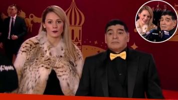 Rocío Oliva y Diego Maradona en Rusia.