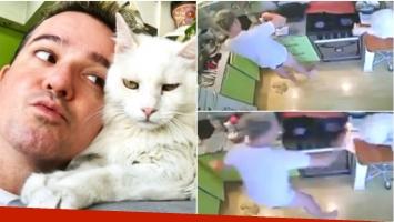 ¡Le quedan 6 vidas! El descuido de Charly G en la cocina... ¡que terminó incendiando la cola de su gato!