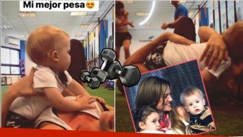 Las fotos del entrenamiento de Paula Chaves... ¡con su bebé en brazos!: Mi mejor pesa