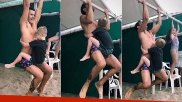 El divertido entrenamiento playero de Mariano Martínez con la ayuda de Milo