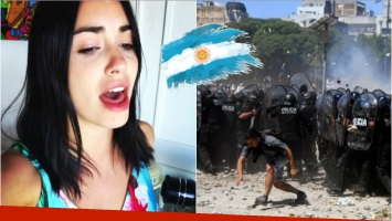 Lali Espósito cantó el Himno Nacional en medio de los incidentes de la 9 de Julio