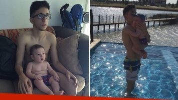 La tierna foto de Rodrigo Noya y su bebé mirando la televisión