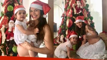 Las fotos navideñas más dulces de Mariana de Melo con su pancita de seis meses y su hija Lupe: Esperando a Papá...
