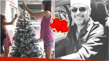 Jorge Rial publicó una foto de su novia y su hijita armando el arbolito de Navidad (Fotos: Instagram Stories e Instagram)
