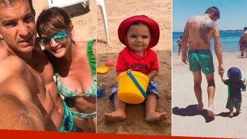 Amalia Granata y Leo Squarzon, junto a su hijo, Roque, en Punta del Este