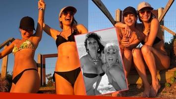 Las pícaras fotos playeras de Agustina Cherri con Marcela Kloosterboer: Volvieron Moria y Susana