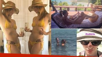 El álbum íntimo de las vacaciones de Agustina Kämpfer en Brasil: mimos con su bebé y selfies en bikini