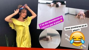 Los divertidos comentarios de Paula Chaves al ver a su hijo, feliz acostado en el piso