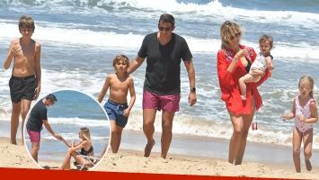 Juan Pablo Varsky y Lala Bruzoni se fueron a Punta con sus respectivos hijos.
