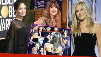 La reacción de Dakota Johnson tras filtrarse una foto mirando a Angelina Jolie mientras Jennifer Aniston da un discurso en los Golden Globes 2018 (Fotos: Web)