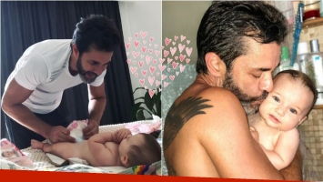 Mariano Martínez mostró cómo le cambia los pañales a su hija, Alma