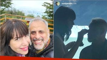 La divertida postal de Romina Pereiro con Jorge Rial en el Calafate (Fotos: Instagram y Captura de Instagram Stories)