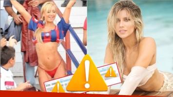 La reacción de Andrea Guidone luego de que Laurita ironizara con ir en trikini a la cancha de San Lorenzo... como lo hizo ella cuando se postuló en 2010 (Fotos: Web e Instagram)