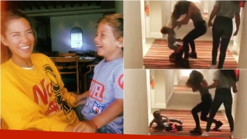 Jimena Barón y Momo, su hijo se dieron un cabezazo mientras bailaban