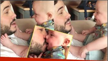 El tierno video de Nicolás Magaldi enseñándole a su bebé a decir