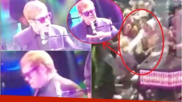 Elton John abandonó el escenario en pleno show por culpa de un fan (Fotos: Capturas de video de TMZ)
