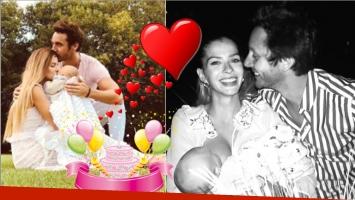 La tierna postal de la China Suárez amamantando a Magnolia junto a Vicuña en su cumpleaños (Fotos: Instagram)