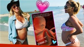 Ailén Bechara lució su pancita de 25 semanas en las playas de Miami (Fotos: Instagram)