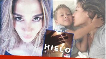 El susto del hijo de Jimena Barón tras quedar atrapado en el auto bajo el granizo (Fotos: Instagram y Captura de video de Instagram Stories)
