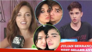 La reacción de Julián Serrano luego de que Oriana confesara sentirse celosa por su noviazgo con Malena Narvay (Fotos: Capturas y Web)