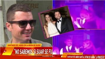 Santiago del Moro cantó con Karina La Princesita en el casamiento de Guido Kaczka