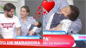 Diego Junior presentó a su primer hijo en la TV (Fotos: Capturas)