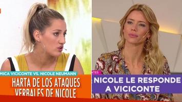 Mica Viciconte (en Intrusos) y Nicole (en Cortá por Lozano): chicanas en simultáneo por TV... y momento incómodo