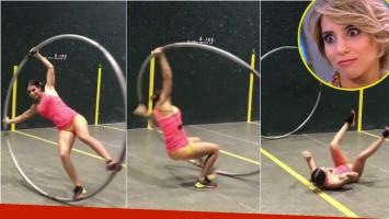 La caída de Cinthia Fernández mientras practicaba con una acrobacia