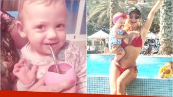 El video más tierno de la hija menor de Evangelina Anderson y Martín Demichelis tomando mate (Fotos: Captura de video de Instagram e Instagram)
