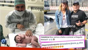 Diego Maradona viajó con Rocío Oliva para encontrarse con su flamante nieto (Fotos: Instagram)