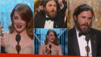 Casey Affleck y Emma Stone se llevaron el Oscar como Mejor Actor y Mejor Actriz protagónico en los Oscar 2017